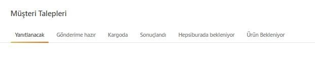 pazaryerlerinde iptal ve iade politikalarından Hepsiburada'da iadeler için Müşteri Talepleri ekran görüntüsü