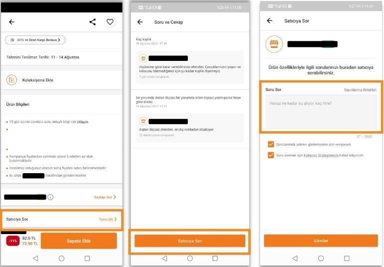 pazaryerlerinde iptal ve iadeyi önlemek için Trendyol satıcıya sor aşamaları müşteri gözünden ekran görüntüsü