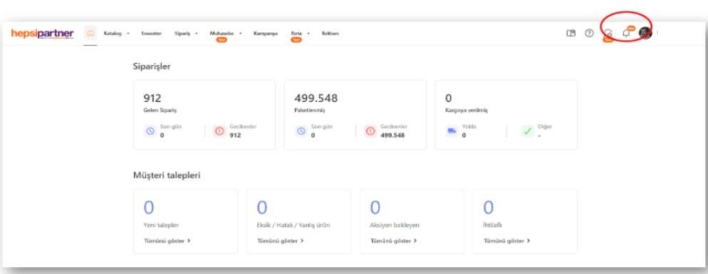 pazaryerlerinde iptal ve iadeyi önlemek için Hepsiburada satıcı panelinde sorulara erişim için bildirimler ikonu ekran görüntüsü