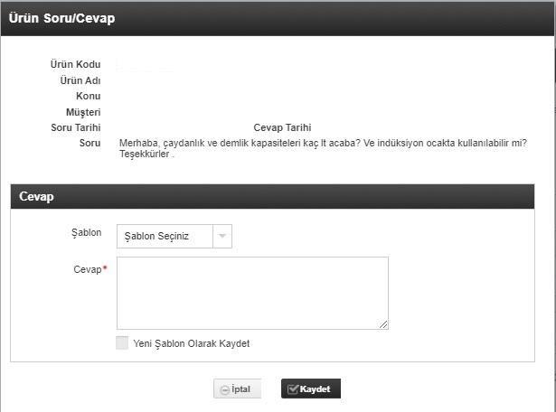pazaryerlerinde iptal ve iadeyi önlemek için N11 ürün soru cevap formu ekran görüntüsü