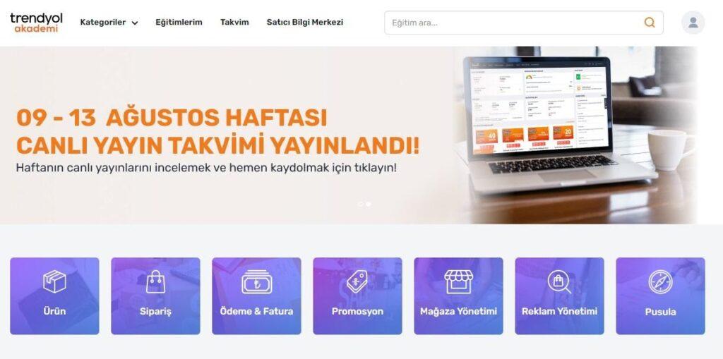 Trendyol Partner programında yer alan satıcılar için Trendyol Akademi eğitimleri ekran görüntüsü