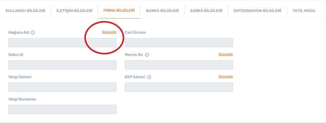 Trendyol'da mağaza adını değiştirmek için Hesabım > Firma Bilgileri formu ekran görüntüsü