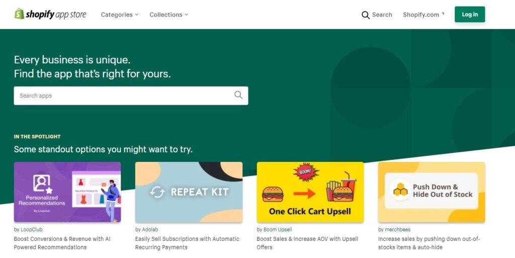 Shopify nedir, uygulamalar sayfası Shopify App Store ekran görüntüsü