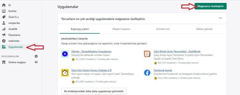 Shopify ile dropshipping için Uygulamalar ekranında Mağazanızı Özelleştirin butonu ekran görüntüsü