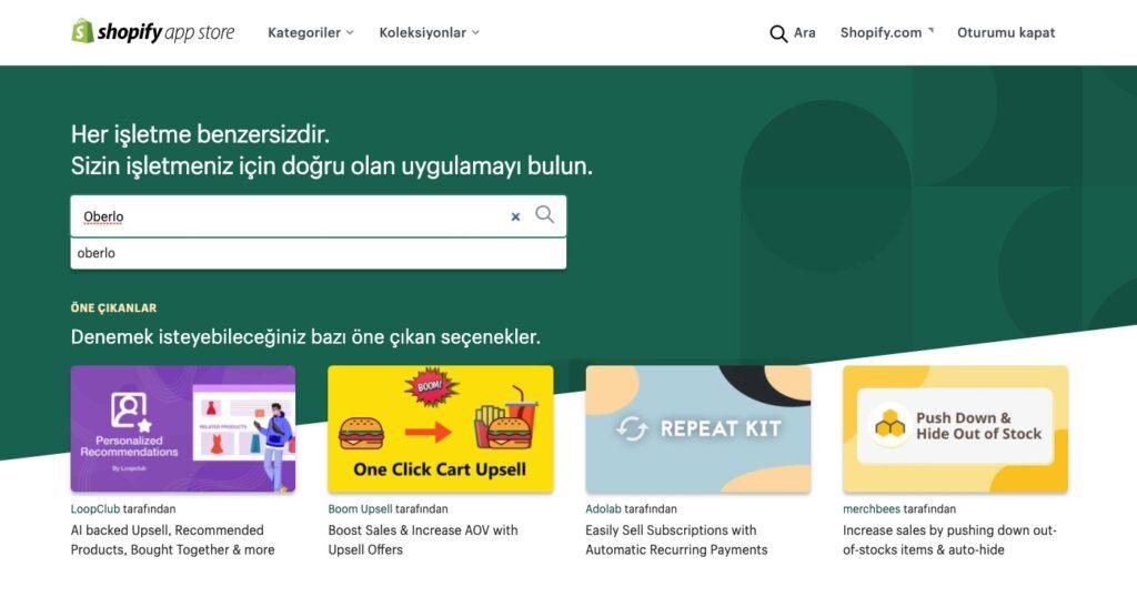 Shopify ile Dropshipping için Shopify App Store ekran görüntüsü