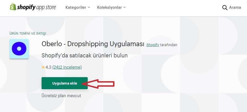 Shopify ile Dropshipping için Shopify App Store'dan Oberlo uygulama ekle ekran görüntüsü