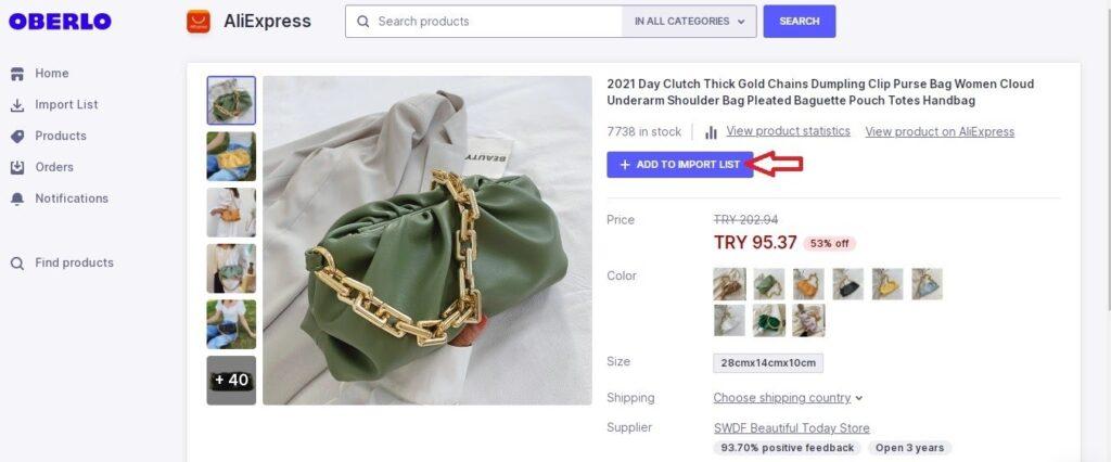 Shopify ile Dropshipping yaparken Oberlo üzerinde ürün arama ve ürünü listeye ekleme ekran görüntüsü
