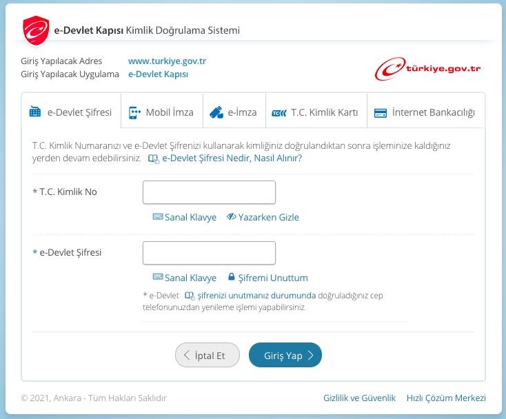 e-ticarette vergi muafiyeti için esnaf vergi muafiyeti belgesi alma adımlarından e-devlet girişi ekran görüntüsü