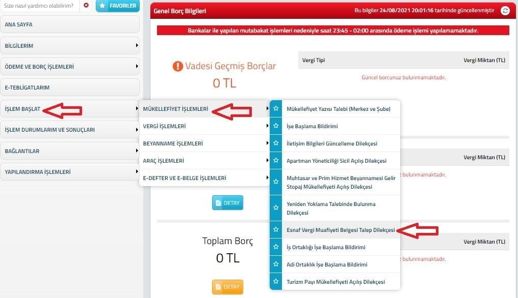 e-ticarette vergi muafiyeti için esnaf vergi muafiyeti belgesi alma adımlarından interaktif vergi dairesi portalından talep dilekçesi için Esnaf Vergi Muafiyeti Belgesi Talep Dilekçesi menü öğesinin ekran görüntüsü