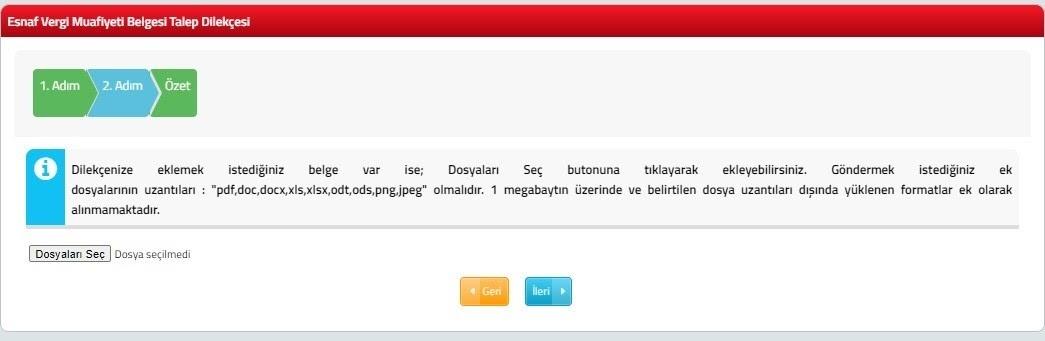 e-ticarette vergi muafiyeti için esnaf vergi muafiyeti belgesi alma adımlarından interaktif vergi dairesi portalından talep dilekçesi için dosya yükleme ekran görüntüsü