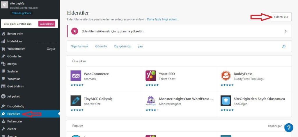 WooCommerce'e iyzico eklentisi kurmak için Eklentiler ekran görüntüsü