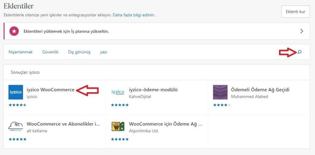 WooCommerce'e iyzico eklentisi kurmak için Eklentiler listesi iyzico WooCommerce eklentisi ekran görüntüsü