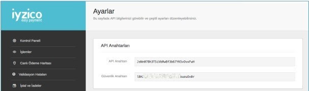 WooCommerce'e iyzico eklentisi kurmak için iyzico panelinde API Bilgileri ekran görüntüsü