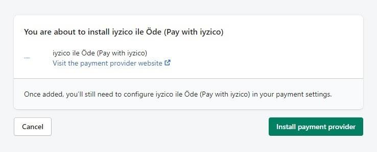 Shopify'a iyzico eklentisi kurmak için yükleme onayı ekran görüntüsü