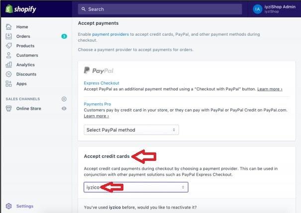 Shopify'a iyzico eklentisi kurmak için ayarlar ekran görüntüsü