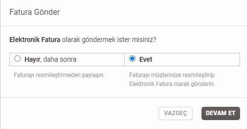 Paraşüt üzerinden e-ticaret faturası oluştururken Elektronik Fatura Gönderim popup ekran görüntüsü