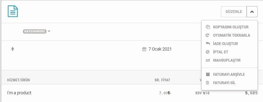 Paraşüt üzerinden e-ticaret faturası oluşmasının ardından Fatura ekranında Düzenle seçenekleri ekran görüntüsü