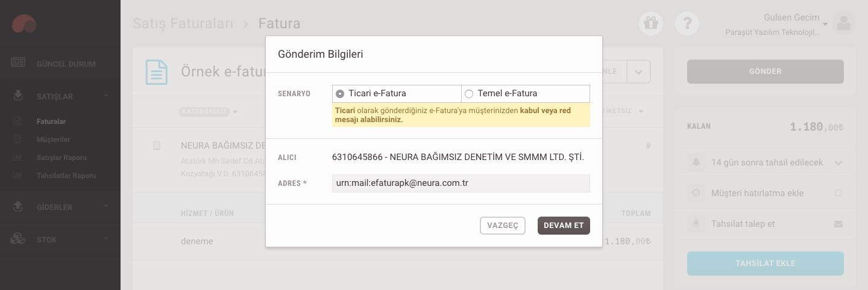 Paraşüt üzerinden e-ticaret faturası oluşmasının ardından Fatura ekranında e-fatura Gönderim Bilgileri ekleme popup ekran görüntüsü