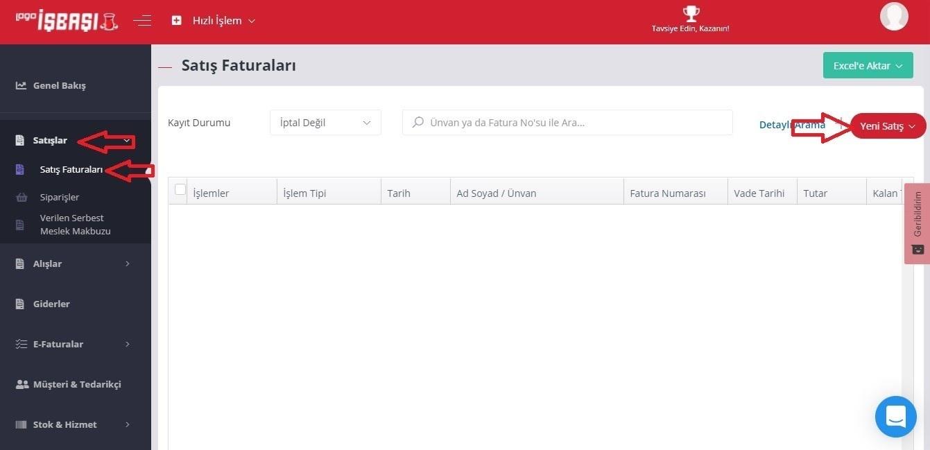 Logo İşbaşı üzerinden e-ticaret faturası oluşturmak için Satışlar > Satış Faturaları sayfasında Yeni Satış butonu ekran görüntüsü