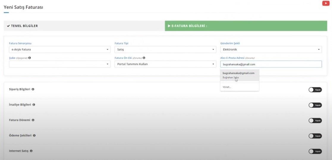 KolayBi' üzerinden e-ticaret faturası oluşturmak için Yeni Satış Faturası ekranında e-Fatura Bilgileri formu ekran görüntüsü