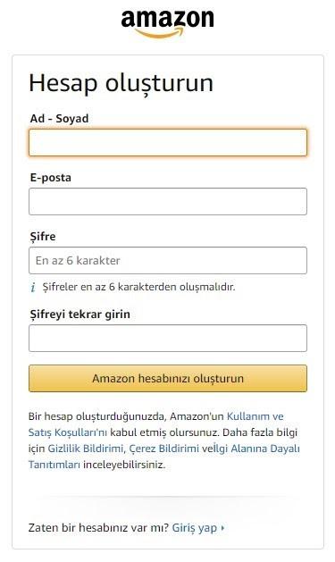 Amazon'da satış yapmak için mağaza açma adımlarından Hesap Oluşturun formu ekran görüntüsü