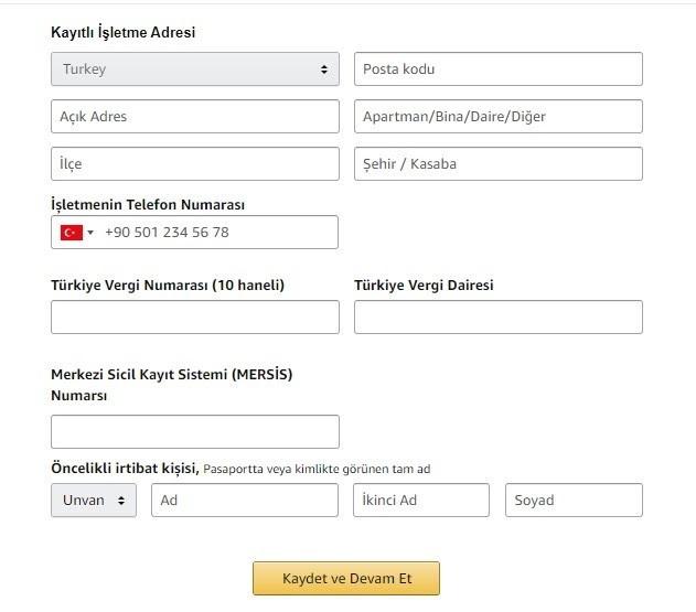 Amazon'da satış yapmak için mağaza açma adımlarından İşletme Bilgileri formu ekran görüntüsü