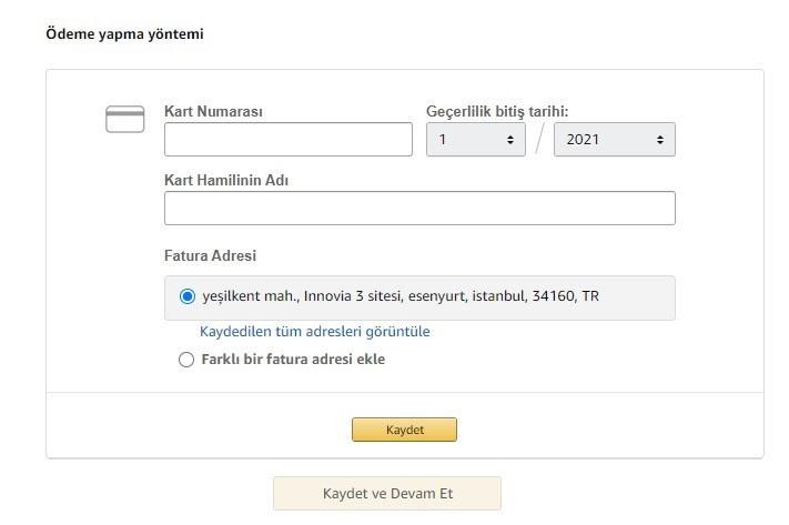 Amazon'da satış yapmak için mağaza açma adımlarından Ödeme Bilgileri formu ekran görüntüsü