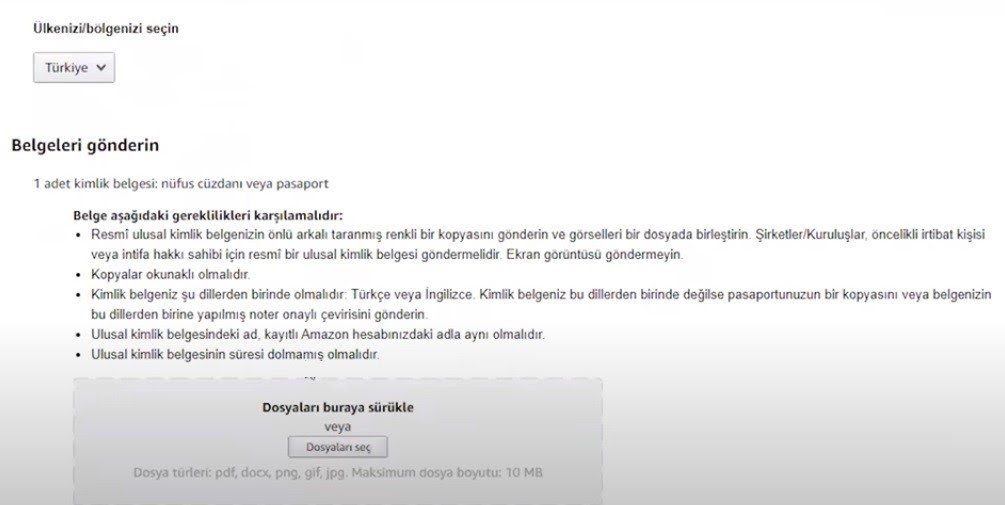 Amazon'da satış yapmak için mağaza açma adımlarından Başvuru Belgeleri formu ekran görüntüsü