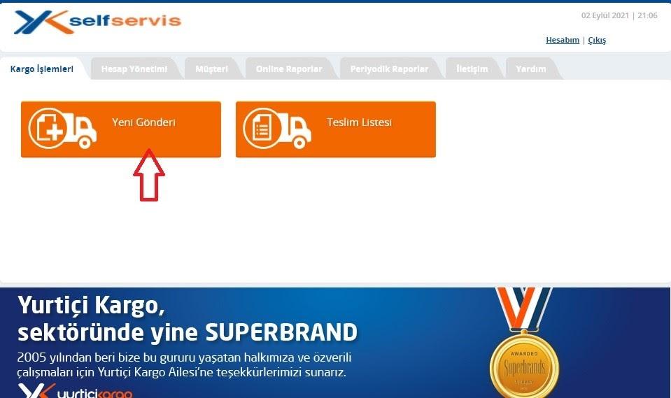 Yurtiçi Kargo Self Servis paneli üzerinden Kargo İşlemleri ekranında Yeni Gönderi ekran görüntüsü