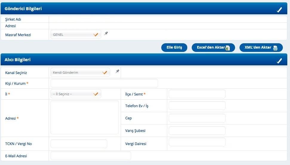 Yurtiçi Kargo Self Servis paneli üzerinden Yeni Gönderi ekranında Gönderici ve Alıcı Bilgileri formu ekran görüntüsü