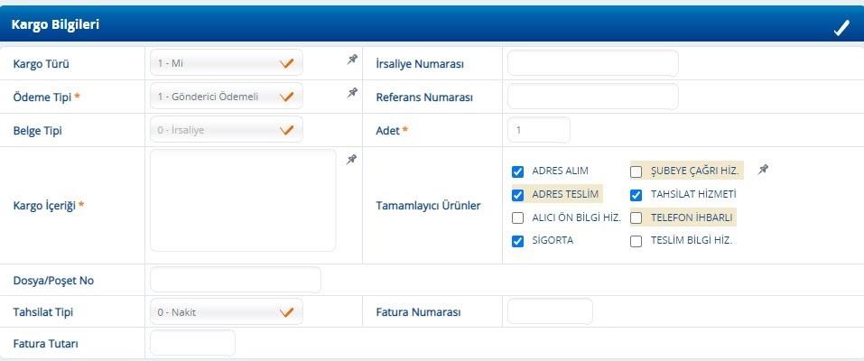 Yurtiçi Kargo Self Servis paneli üzerinden Yeni Gönderi ekranında Kargo Bilgileri formu ekran görüntüsü