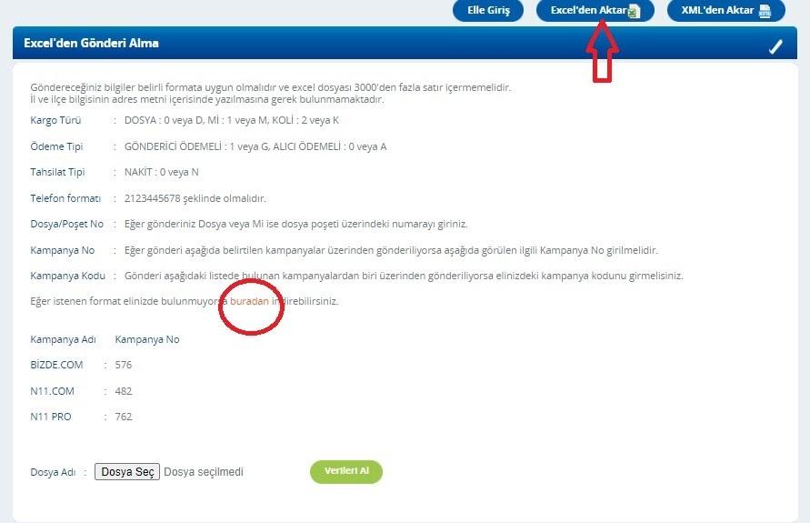 Yurtiçi Kargo Self Servis paneli üzerinden Excel'den Gönderi Alma ekran görüntüsü