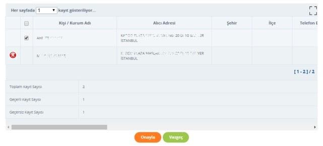 Yurtiçi Kargo Self Servis paneli üzerinden Excel'den Gönderi Alma Onayı ekran görüntüsü