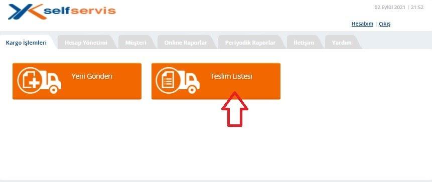 Yurtiçi Kargo Self Servis paneli üzerinden Kargo İşlemleri ekranında Teslim Listesi ekran görüntüsü