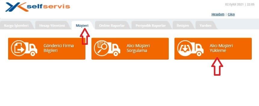Yurtiçi Kargo Self Servis paneli üzerinden Müşteri ekranında Alıcı Müşteri Yükleme ekran görüntüsü