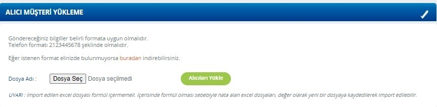 Yurtiçi Kargo Self Servis paneli üzerinden Alıcı Müşteri Yükleme ekranında Dosya Seçimi ekran görüntüsü