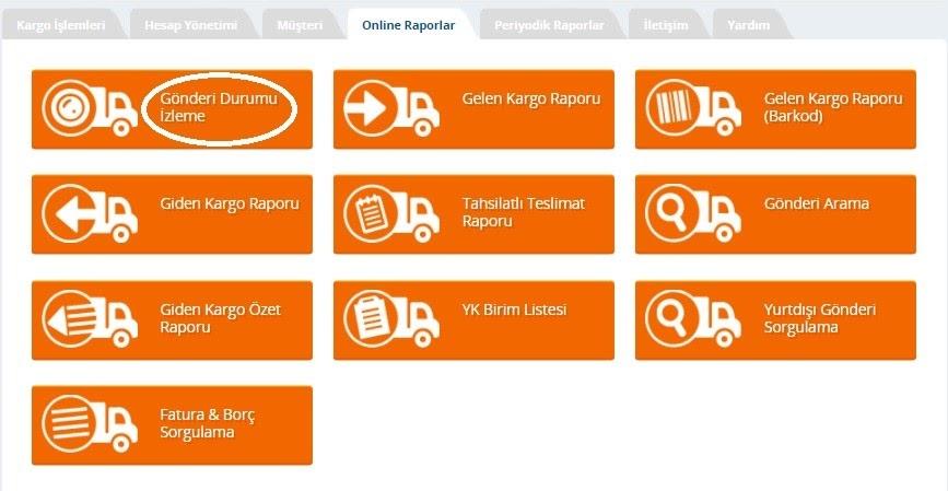 Yurtiçi Kargo Self Servis paneli üzerinden Online Raporlar ekranında Gönderi Durumu İzleme ekran görüntüsü