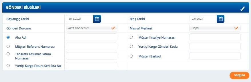 Yurtiçi Kargo Self Servis paneli üzerinden Gönderi Durumu İzleme ekranında Gönderi Bilgileri filtresi ekran görüntüsü