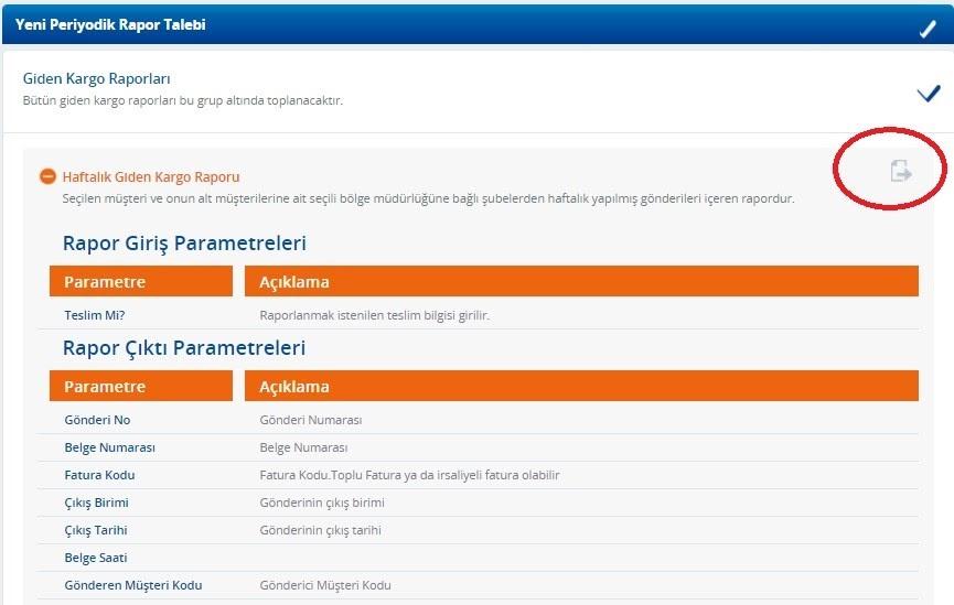 Yurtiçi Kargo Self Servis paneli üzerinden Periyodik Rapor Bildirimleri ekranında Giden Kargo Talepleri ekran görüntüsü