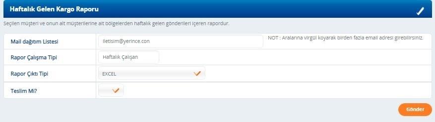 Yurtiçi Kargo Self Servis paneli üzerinden Periyodik Rapor Bildirimleri ekranında Haftalık Gelen Kargo Raporu ekran görüntüsü