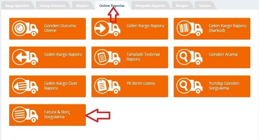 Yurtiçi Kargo Self Servis paneli üzerinden Online Raporlar ekranında Fatura & Borç Sorgulama ekran görüntüsü