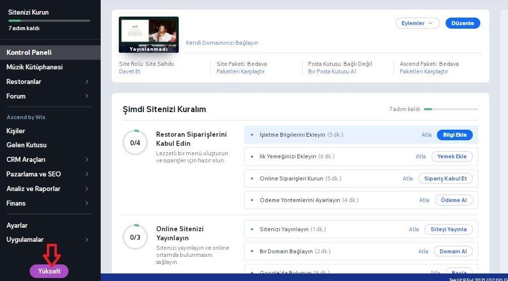 Wix Booking için Wix hesabını Premium'a yükseltmek için kontrol panelinde Yükselt butonu ekran görüntüsü