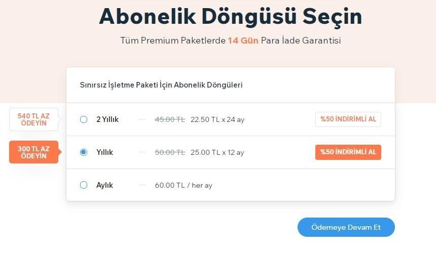 Wix Booking için Wix hesabını Premium'a yükseltmek için Abonelik Döngüsü seçenekleri ekran görüntüsü