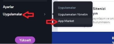 Wix hesabına Wix Booking kurulumu için Uygulamalar > App Market menüsü ekran görüntüsü