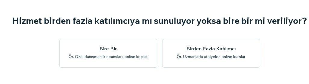 Wix Booking'e hizmet ekleme adımlarından Hizmet Türü seçenekleri ekran görüntüsü