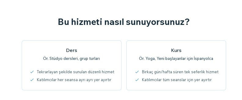 Wix Booking'e hizmet ekleme adımlarından Hizmet Şekli seçenekleri ekran görüntüsü