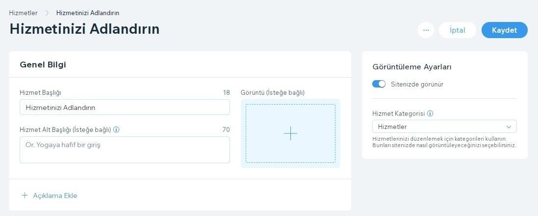 Wix Booking'e hizmet ekleme adımlarından Hizmet Detayları formu ekran görüntüsü