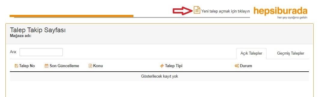 Hepsiburada Merchant Id alma aşamalarından Yeni Talep Açma butonu ekran görüntüsü