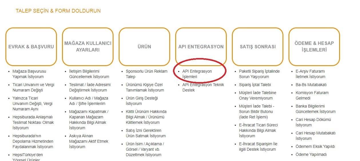 Hepsiburada Merchant Id alma aşamalarından API Entegrasyon İşlemleri talebi ekran görüntüsü