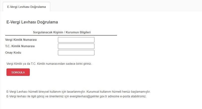 vergi levhası doğrulama ekran görüntüsü